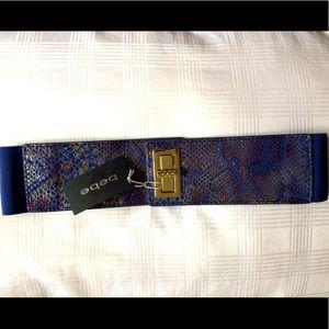 Bebe size S blue animal print belt.